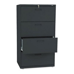 HON 500 Series 30 Inch Four Drawer Lateral File - The HON 500 Series 30-Inch Four-Drawer Lateral File allows you to securely store all your personal and business files and records. Designed for moderate office use, this wide file cabinet has two generously sized drawers with side-to-side rails to hold both letter and legal hanging folders. A lock located in the center of the unit at the top locks the entire drawer more securely. The file cabinet's leveling glides are adjustable for uneven floors. This unit is available in your choice of putty, black, light gray, or light charcoal finish. Delivered fully assembled. Dimensions: 30W x 19.25D x 53.25H inches.About the HON CompanyHeadquartered in Muscatine, Iowa, the HON Company is established as a leader in the office furniture industry. The HON Company designs and manufactures products including chairs, files, panel systems, tables, and desks. With several national manufacturing facilities, the company provides products through a system of dealers and retailers throughout the United States.As the landscape of today's office and classroom continues to change with new technologies, the HON Company has created office furniture, teacher stations, and student desks that anticipate and adapt to the newest waves of high-tech products. Additionally, in an effort to think and act green, the HON Company uses less packing material, reduces their amount of fabric waste, and uses recycled wood from other furniture.