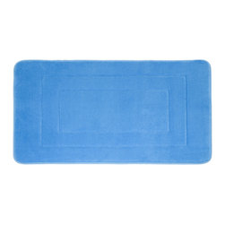 "Living Healthy Products - Microfiber Absorbing Bathroom Mat 20x30 Horizontal Line Pattern, Blue - Step out of the Shower and into Plush Luxury with this quilted memory foam bathroom mat. This mat has a stable non slip latex backing and is covered with a silky soft microfiber. The mat absorbs moisture as you stand in comfort and protects you feet from the cold tile floors. Available in 2 Sizes : 17"" x 24"" or 20"" x 30"""