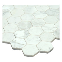 All Marble Tiles - Bianco Carrara 2 inches Polished Marble Honey Comb Mosaic Tile - The Bianco Carrara collection or white Carrara Collection allows you to play with colors for your interior. Besides getting a lovely option of pure white on tile, this collection also features a white grey hue to try. With these two colors you can create a modern or classic looking theme in your home according to preference.