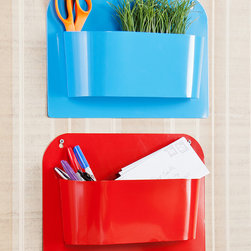 Southern Enterprises - Two-Compartment Indoor & Outdoor Wall-Mount Storage Set - Tame clutter creatively with this vibrant wall-mount storage set that features two bins with numerous organization options and a weather-resistant structure that functions both indoors or out.   15'' W x 5'' H x 3.75'' D Metal No assembly required Imported