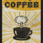 Atomic Joe Coffee Framed Artwork - With this inspiring print on your kitchen wall, you'll always feel that vim and vigor that a good cup of joe brings. The museum quality print, elegantly framed in black wood, will add retro-cool style to your wall.