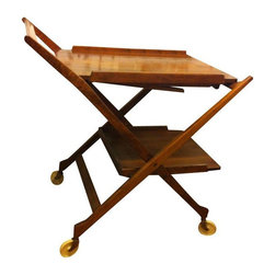 Used Mid-Century Bar Cart by Nasco - This gorgeous vintage Nasco tea cart (or bar cart, because, come on!) has a removeable serving tray that turns into a table... breakfast in bed, anyone? It is stamped Nasco Yugoslavia. The cart is in vintage condition with some wear on the serving tray.
