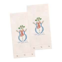 The Designs of Distinction - Holiday Guest Towels, Set of 2, Snowman - These 100% Cotton guest -towels have a hemstitched bottom and are carefully hand embroidered in small fair trade villages. They have holiday motifs. Sold in sets of 2.