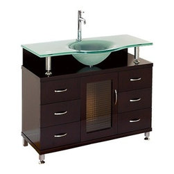 """Modern Bathroom - Accara 36"""" Bathroom Vanity with Drawers - Espresso w/ Clear or Frosted Glass Cou - The Accara 36"""" Bathroom Vanity combines forward-thinking design with cutting-edge manufacturing, for years of relevant style and performance. The flawless melding of high-end glass, sturdy wood and sleek metal adds an air of sophistication and quality to any bathroom. For a vanity designed to impress and engineered to last, choose Accara. This Espresso finished contemporary vanity is topped with a stunning, single piece 3/4 inch thick heat-tempered glass counter and sink. The glass-front doors open to reveal a vast storage area, perfect for your fine linens, towels and other bath necessities. Available in your choice of slick clear or dramatic frosted glass counter. Available in additional sizes. Features Single-hole faucet mount Includes drain assembly Faucet not included Optional side and wall cabinets How to handle your counter Spec Sheet for vanity Spec Sheet for Claire Rotating Wall Cabinet with mirror (WC-B802) Spec Sheet for Sarah Storage Cabinet (WC-B803) Spec Sheet for Accara Bathroom Wall Cabinet (WC-B805) Spec Sheet for Maria Bathroom Wall Cabinet (WC-B807) Installation Instructions *Because these items are hand finished, mirror and vanity color shades may vary slightly. Natural stone like marble and granite, while otherwise durable, are vulnerable to staining from hair dye, ink, tea, coffee, oily materials such as hand cream or milk, and can be etched by acidic substances such as alcohol and soft drinks. Please protect your countertop and/or sink by avoiding contact with these substances. For more information, please review our """"Marble & Granite Care"""" guide."""