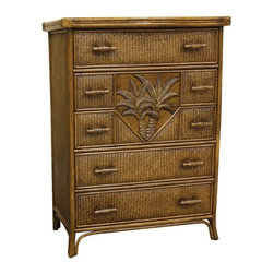 Hospitality Rattan - Cancun Palm 5 Drawer Chest w Glass - Both rustic and elegant, the island inspired look of this wood and herringbone wicker chest, featuring a rich antique finish, will be a spirited addition to your bedroom decor. The chest is perfect for a beachfront cottage or for bringing the beach into any space, no matter how far away you might be. This product is warranted for indoor use. Made of Wood Frame and Woven Wicker. Traditional wicker bedroom five drawer chest with glass. Durable, yet elegant construction and matches Cancun Palm Seating, Dining, Bar stool Items as well. Metal Glides for the drawers. Coordinates with other bedroom pieces from the Cancun Palm collection. Tropical island style design with palm tree decor. Pictured in Antique. Fully assembled. 36 in. W x 22 in. D x 48 in. H (88 lbs.)This Cancun Palm bedroom collection is one of our exclusive and largest collections of fine rattan and herringbone wicker weaving. That has a fiber palm tree castings design. The woven leather bindings used throughout Cancun Palm ensures its durability and quality for many years of use. It enhances the tropical look in any bedroom room. The selection of two finishes help compliment any room decor. In addition metal glides are used on all the case good pieces along with glass which is included on the Cancun Palm Collection.