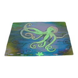 xmarc - Sea Life Area Rugs From My Art, Blue Octopus - Blue octopus area plush area rugs from original art. Tropical fish, octopus, jellyfish, blue crabs and more.
