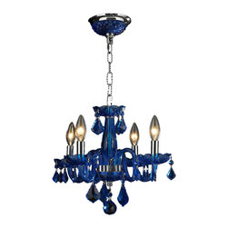 """Worldwide Lighting - Clarion 4 Light Chrome Finish Sapphire Blue Crystal Chandelier 16"""" x 12"""" Mini - This stunning 4-light crystal chandelier only uses the best quality material and workmanship ensuring a beautiful heirloom quality piece. Featuring a radiant chrome finish and finely cut premium grade sapphire colored crystals with a lead content of 30%, this elegant chandelier will give any room sparkle and glamour. Worldwide Lighting Corporation is a privately owned manufacturer of high quality crystal chandeliers, pendants, surface mounts, sconces and custom decorative lighting products for the residential, hospitality and commercial building markets. Our high quality crystals meet all standards of perfection, possessing lead oxide of 30% that is above industry standards and can be seen in prestigious homes, hotels, restaurants, casinos, and churches across the country. Our mission is to enhance your lighting needs with exceptional quality fixtures at a reasonable price."""