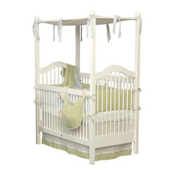 Newport Cottages - Haven Crib - Elegant and romantic, this four-poster crib will send your little one off to dreamland in style. Constructed of sturdy hardwood to adhere to the highest safety standards, this pretty piece features dual level fixed gates, the option to convert to a toddler bed and years of gorgeous good looks.