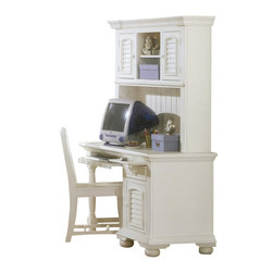 American Woodcrafters - Computer Desk with Bun Feet in Eggshell White Finish - Tradition & quality craftsmanship - you'll get it all with this American Woodcrafters computer desk. It has a louvered door for concealed storage, a handy drawer and convenient pull out keyboard tray. Solid wood desk has eggshell white finish, and there's an optional hutch available. Cottage Traditions Collection. 1 Door. 1 Drawer. 1 Pull-out keyboard tray. 1 Adjustable shelf. Hutch & chair not included. Solid wood hardware of knobs in matching finish. Drawer features conventional dovetailing. Veneer drawer bottoms. Center guided, metal-on-metal, plastic-on-plastic with positive action drawer stops to prevent drawers from being accidentally pulled from cases. Drawer is 14.5 in. front-to-back for ample storage. Corner blocks and cleats are glued and screwed in place. Optional hutch with 2 doors, 2 stationary shelves and 1 adjustable shelf. Grommets for electrical wiring. Eggshell White with fly-specking finish. Solid Pine, Pine veneer and MDF construction. 1-Year manufacturer's warranty. 22 in D x 48 in. W x 30 in. H (122.3 lbs.)