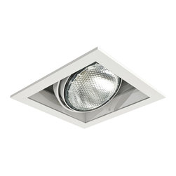 """Eurofase - Eurofase White Square Par 20 Recessed Light - This square single recessed Par 20/120 volt light is designed for remodel applications but is also suitable for new construction. A cast metal outer rim in white finish surrounds a white finish round lamp head that is adjustable 35 degrees on both axis allowing it to be aimed in any direction. A beveled profile makes it lovely to look at even when the light is off. Part of the recessed multi-light fixture series from Eurofase Lighting. Single Par 20 recessed light. White finish. Cast metal outer trim ring. For remodel applications but will work with new construction. One max 50 watt Par 20 bulb (not included). Adjustable 35 degrees in any direction. Works with compatible Eurofase recessed housings (sold separately). 6 1/2"""" wide. 6 1/2"""" deep. 6 1/2"""" high.  Single Par 20 recessed light.  White finish.  Cast metal outer trim ring.  For remodel applications but will work with new construction.  One max 50 watt Par 20 bulb (not included).  Adjustable 35 degrees in any direction.  Works with compatible Eurofase recessed housings (sold separately).  6 1/2"""" wide.  6 1/2"""" deep.  6 1/2"""" high."""