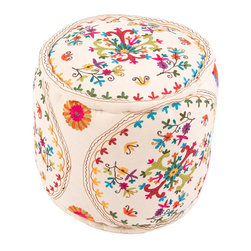 Jaipur Rugs - Vivid Bohemia Pouf - The vivid collection of poufs is inspired by motifs and patterns from traditional suzani and ethnic textiles, these bright jewel colored poufs are at home in any global environment.