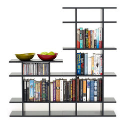 "Smart Furniture - 4' Wide 2-Tier Bookshelf - 4' Wide 2-Tier BookshelfA breeze to assemble, this 2-tier bookshelf features five large square shelf spaces as well as five smaller spaces for knick knacks, smaller books, or media items. This bookshelf design can be expanded upon with additional shelving components to fit your home library. Available in black, white, espresso, cherry, maple, and pearwood finishes. Smart Furniture's signature line of modular bookshelves and bookcases allows you create the bookshelf that is perfect for you. Using a component-based approach, our bookshelves can be reconfigured, rearranged, and added to whenever it suits you. Smart Furniture's design assistance is completely free- just call us at 888-467-6278 to speak to one of our sales agents and get started.  Overall: 49.25"" h x 48"" w x 9.5"" d"