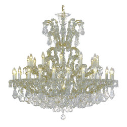 """Inviting Home - Maria Theresa Crystal Chandeliers (Select Crystal) - clear and gold Maria Theresa style crystal chandelier; 47"""" x 47""""H (37 lights); assembly required; 37 light select clear crystal chandelier with hand-molded arms and cut crystal components and trimmings; all metal parts have gold finish; genuine Czech crystal; * ready to ship in 2 to 3 weeks; * assembly required; This chandelier is a part of Maria Theresa Collection. At their start the chandeliers bearing the name of Maria Theresa were made on the occasion of the Empress's coronation as queen of Bohemia in 1743. This fact is hidden in the shape of these lighting fixtures reminiscent of the royal crown. Their characteristic feature is the arms' typical flat surface clad with glass bars. The bars are fixed to the arms by glass rosettes and beads with dangling cut crystal chandelier trimmings. These ravishing fixtures were inspired by a chandelier made for Maria Theresa in Bohemia in the mid 18th century. However not only the empress became fond of it; so did many others who fancied the style and the majestic manners after her. Typical elements are metal arms overlaid with glass bars and decorated with crystal rosettes. Originally the trimming was made of typical flat drops called """"pendles"""". Today trimmings of various shapes are used. Select crystal (or standard). Hand cut or partly machine cut chandelier trimmings. Inspired by rich glassmaking tradition as well as modern trends these crystals are characterized by distinct fire rainbow sparkle and purity of shape. Each piece is checked for accuracy of cut and its high quality is guaranteed. They will satisfy even the most discriminating customers. Chandelier trimmings of the Select type offer an opportunity to those searching for quality at a great value. The tradition of production luxurious appearance and classical morphology are the common denominator of all these chandeliers. To manufacture these almost 90 percent is hand-completed: mouth-blowing c"""
