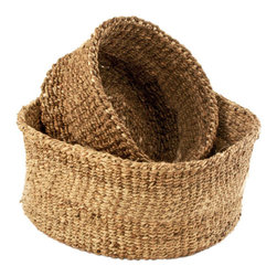 Positive Thinking Baskets - Set of 2 - Handcrafted in Nairobi by women artisans, these baskets turn a big problem into something beautiful. Invasive water hyacinth is pulled from Lake Victoria and woven to create these gorgeous nesting baskets. They're perfect for sorting out household odds and ends, storing linens, and making the world a little bit nicer.