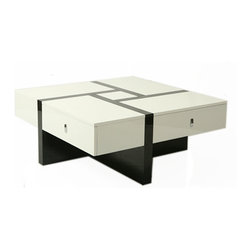 "Pastel Furniture - Pastel Jumeirah Coffee Table - Black and White High Gloss Base and Top - The Jumeirah coffee table is not only a beautiful piece of furniture but an art piece as well. In addition to adding elegance and style to a room, it will make a great conversation piece. This 40"" square coffee table comes in glossy black and white wood."