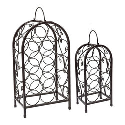 "Old Dutch International - Set of 2 Nesting Matte Black Wine Racks - This set of 2 wine racks store and display a total of 21 bottles of your finest vintage!  Classic arched styling enhances any décor. Made of sturdy welded steel with an elegant satin black powder coat finish. Nested for easy storage when not in use. 14 Bottle - 27""x13""x8¼""  and 7 Bottle - 22½""x9""x7"""
