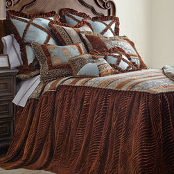 Dian Austin Couture Home - Dian Austin Couture Home Queen Skirted Coverlet - Brown and teal bed linens convey the personality of the Soho area with an artistic collage of chenille and velvet textures. Made in the USA by Dian Austin Couture Home®. Dry clean. Top of skirted coverlet, framed with tri-color cording, features m...