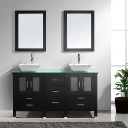 "Virtu USA - Virtu USA MD-4305 - Bradford 60"" Double Sink Bathroom Vanity - Espresso Finish - The espresso Bradford vanity captures a European contemporary design with a touch of warmth. This double sink set provides maximum storage while maintaining a beautiful clean line appearance. The vanity features two modern vessel basins on an artificial white stone or a tempered glass countertop. The complete set includes matching mirrors and quality lifetime warranty faucets. The Bradford vanity will be a great addition to your modern bathroom design."