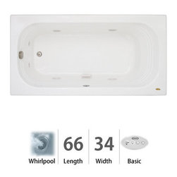 """Jacuzzi - Jacuzzi LUX6634 WRL 2XX W White Luxura 66"""" x 34"""" Luxura  Three Wall - Luxura  Collection:Tub apron sold separately - when adding to cart apron option will be presentedWhen you see a Jacuzzi  tub with the name Luxura , you know this is going to be one you just HAVE to try. With jets along both sides and at one end for that soothing foot or shoulder massage, this is a welcome addition to a contemporary décor or a more traditional setting. The Jacuzzi  Luxura  tub comes in a variety of sizes, each with tile-in options. Choose from four different colors (white, black, almond, and oyster) and three hydrotherapy experiences (Whirlpool, Pure Air , and Soaking Bath), depending on the measurements. This is an ideal fixture for remodels and replacements of older tubs measuring 5 to 5 1/2 feet in length. Should your job require tub skirting, Luxura  model tubs have this available.Measurements:66""""L x 34""""W x 20-1/4""""HComfort Whirlpool:At its most basic form, the three things needed to create a whirlpool experience are water (moved through a pump), air (mixed with the water), and jets (Therapro and AccuPro). Jacuzzi s  Comfort Whirlpool models do just this. A single speed motor and patented fixed airflow system push mixed water through 5-8 jets. Luxury models take things even further by swapping out the single-speed motor for a multi-speed motor and upgrading the airflow systems to electronically operated and patented Silent Air  Induction technologies. Luxury Models tend to have double (in some cases, triple) the jets of Comfort models, enhanced user controls, and a number of optional high-tech upgrades including Whisper technology, Illumatherapy lighting, and LCD user controls. When Shopping Jacuzzi  Whirlpools it is important to understand what you are looking for. For some, it is a basic model that offers invigorating bathes at an excellent price-point. For others, it is a state"""