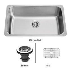 Vigo - Vigo 30-inch Undermount Stainless Steel Kitchen Sink, Grid and Strainer - The Vigo undermount kitchen sink, matching grid and strainer complement any decor and is highly functional. Every design detail is featured in this sink to meet your needs.