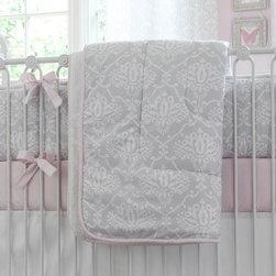 Pink and Gray Damask Crib Comforter -