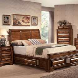 Acme Furniture - Konance Brown Cherry Sleigh 5 Piece Eastern King Bedroom Set - - Set includes Eastern King Bed, Dresser, Mirror, Nightstand and Chest