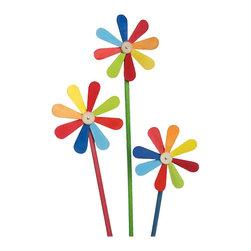 Alexander Taron - Graupner Ornament - Windmills - Assorted Set of 6-pieces in Assorted lengths - Graupner Ornament - Assorted set of 6 brightly colored wooden windmills