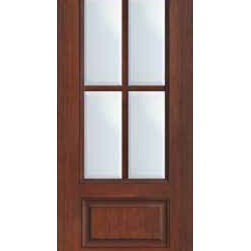 "French Single Door 96 Wood Mahogany Full Lite 12 Lite - SKU#    MCR08-SDL4Brand    GlassCraftDoor Type    FrenchManufacturer Collection    4 Lite Entry DoorsDoor Model    4 LiteDoor Material    FiberglassWoodgrain    Veneer    Price    1210Door Size Options      +$percent  +$percentCore Type    Door Style    Door Lite Style    3/4 Lite , 4 LiteDoor Panel Style    1 PanelHome Style Matching    Door Construction    TDLPrehanging Options    Slab , Prehung , ImpactPrehung Configuration    Single DoorDoor Thickness (Inches)    1.75Glass Thickness (Inches)    Glass Type    Double GlazedGlass Caming    Glass Features    Tempered glassGlass Style    Glass Texture    ClearGlass Obscurity    No ObscurityDoor Features    Door Approvals    TCEQ , Wind-load Rated , AMD , NFRC-IG , IRC , NFRC-Safety GlassDoor Finishes    Door Accessories    Weight (lbs)    248Crating Size    25"" (w)x 108"" (l)x 52"" (h)Lead Time    Slab Doors: 7 Business DaysPrehung:14 Business DaysPrefinished, PreHung:21 Business DaysWarranty    Five (5) years limited warranty for the Fiberglass FinishThree (3) years limited warranty for MasterGrain Door Panel"