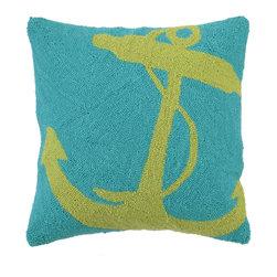 PHI - PHI Anchor Hook Pillow-Green - Green Anchor Hook Pillow by PHI. 100% Wool & Cotton.