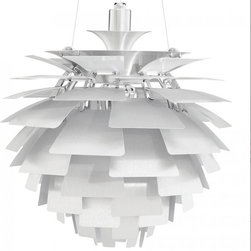 "Kardiel Artichoke Style Lamp - Silver Aluminum - 18.9"" Diameter - Poul Henningsen's most famous contribution to society is probably the Artichoke Lamp, a spherical, plant-like form. Also known as the PH Lamp, it was created in 1958 and expressed his enthusiasm for ""functionalism"" and the ""natural living"" that he advocated so passionately. Poul's accomplished goal was the creation of the contemporary organic design of the artichoke lamp, functioning to diffuse the harsh elements of the electric interior hanging lamp. The original design was commissioned for use inside the Restaurant ""Langeline Pavalion"" which is located in Copenhagen. If you are in Copenhagen and visit the Restaurant, they are still hanging to this day. Another gorgeous case of form meets function. Modern and classic simultaneously, there's no decorating scheme that this lamp won't illuminate. This Contemporary Chandelier is a highly detailed, hand-crafted reproduction of the original Artichoke pendant lamp. The Artichoke Lamp was designed in 1958 by Poul Henningsen who is now recognized as the first ""lighting architect."" True to the original, the 23.62 inches diameter of the lamp consists of 12 arches and 11 rows of leaves. Each row features 6 Hand guided laser cut ""leaves"". The first four rows of leaves progressively increase in dimension size. The remaining 7 rows contain the largest leave size and are consistent. The total 66 lucent like ""leaves"" appear to unfold into the classic ""artichoke"" form, capturing the light from within and softly dispensing it back into the room. Each leaf is offset diffusing the source of the direct light and providing for an indirect glow of light which emanates from the center of the lamp. No other Chandelier pendant lamp design quite duplicates the pleasing indirect. Now you can own your very own version of the Artichoke that is easily recognized worldwide as the Modern Classic Icon in lighting."