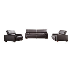 VIG Furniture - 171 Black Full Top Grain Italian Leather Sofa Set With Adjustable Headrests - The 171 sofa set is a great addition for any modern themed living room decor. This sofa set comes fully upholstered in a beautiful black top grain Italian leather. High density foam is placed within the cushions for added comfort. Only solid wood products were used when crafting the frames making the sofa set very durable. Each piece features adjustable headrests adding an extra touch of relaxation.