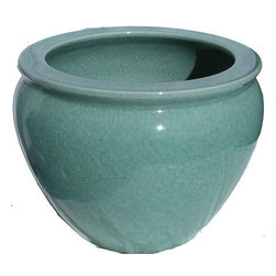 n/a - Chinese Porcelain Fish Bowl Planters in Celadon Crackle, 14 - Available in eight sizes, this attractive Chinese Celadon porcelain fish bowl is meticulously hand finished in a Celadon crackle glaze. Did you know these porcelain fish bowls can be used as a base for a table top? Nowadays the Celadon fish bowls are used by interior decorators for planters or glass top table base.