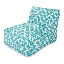 Majestic Home Goods - Teal Links Bean Bag Chair Lounger - Add style and functionality to your living room, family room or outdoor patio with the Majestic Home Goods Teal Links Bean Bag Chair Lounger. This Beanbag Chair has the design of modern furniture, while still giving the comfort of a classic bean bag. Woven from outdoor treated polyester, these loungers have up to 1000 hours of U.V. protection and are able to withstand all of nature's elements. The beanbags are eco-friendly and feature a zippered slipcover. Spot clean slipcover with mild detergent and hang dry. Do not wash insert.