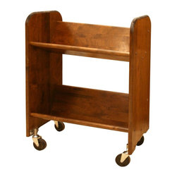 Catskill Craftsmen - BookMaster Book & Video Cart w Shelves & Waln - Made of US hardwood. Tilted shelves provides easy viewing of titles. 3 in. Heavy-duty, ball-bearing swivel casters. Assembly required. Made in the USA. 13 in. L x 27 in. W x 31 in. H (45 lbs.). Shelves clearance: 15 in. The BookMaster is a small version of ROL-RACK multi-purpose mobile book and video cart that features 50 in. of shelf storage.