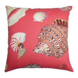 "The Pillow Collection - Rayen Coastal Pillow Pink - Decorate this summer-ready throw pillow and set a relaxing vibe to your interiors. This square pillow features a coastal-inspired pattern with a pop of fun colors in pink, red, brown and white. Spread this 18"" pillow in your living room or bedroom and pair it with a matching pattern. This decor pillow is crafted from 100% plush cotton fabric. Hidden zipper closure for easy cover removal.  Knife edge finish on all four sides.  Reversible pillow with the same fabric on the back side.  Spot cleaning suggested."