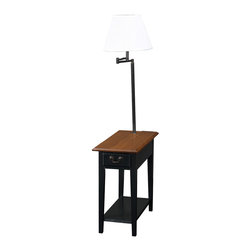 Leick Furniture - Chairside Lamp Table - Slate - This chairside silhouette stands at your service beside recliners and upholstery where space is short. Layered with useful features rising up from the open display shelf, enclosed drawer storage, durable solid wood top, and finally the convenient, swing arm lighting at the perfect height for reading. Solid hardwood. Knockdown, two cartons. Bell shaped, Ecru shade. Antique black finish on drawer pull and lamp components. Slate finish.