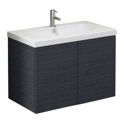Iotti - 2 Door Vanity Cabinet Set With Built-in Sink , Gray Oak - This beautiful wall mounted bathroom vanity is made of engineered wood and features a white ceramic bathroom sink.