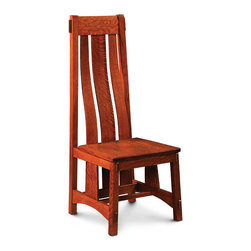 McCoy Side Chair - Custom made in your choice of 8 American hardwoods available in 18 different finishes. Price varies with wood selection.  Shown with wood seat but available with fabric or leather seats.