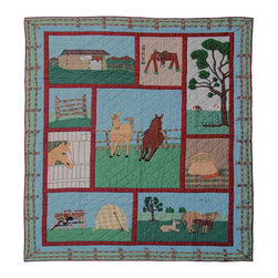 Patch Quilts - Horse Duvet Cover Twin 70 x 88 - - Beautifully crafted cover with intricate applique .Bedding ensemble from Patch Magic  - The Name for the finest quality quilts and accessories  - Machine washable.Line or Flat dry only Patch Quilts - DCTHORS