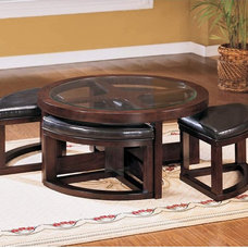 Contemporary Footstools And Ottomans Pieces Coffee Table with 4 Ottomans Multicolor - 3219PU-01