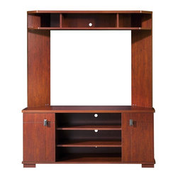 South Shore - Corner TV Entertainment Center With Cherry Fi - * Manufactured from eco-friendly, EPP-compliant laminated particle boardcarrying the Forest Stewardship Council (FSC) certification. Classic Cherry finish. Corner unit for space saving. Trendy metal handles in a dark finish. Grooved patterned doors enhance this entertainment center's design. This entertainment unit is sitting on decorative squared legs. Accommodates TVs up to 42 in.. 2 adjustable shelves in the middle section and 1 adjustable shelf behind each doors. 3 spaces for audio-video components at the top. Wire management holes. Manufactured from engineered-wood products. Made of engineered wood from 100% recycled wood fiber. 5-year warranty. Assembly required. 48 in. W x 17 in. D x 58 in. H. 95 lbs. TV shelf: approximately 17-18 in. H