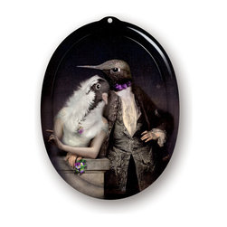 iBride - iBride The Lovebirds Small Tray/Wall Art - Ibride's Animosités collection includes this oval serving tray with a portrait of the Lovebirds - a pigeon and hummingbird pair.  This whimsical tray is great for general use or hang it on the wall for decoration.  Made of high pressure laminate, this tray is waterproof and heat resistant.  Wall hook included.   Manufactured by iBride.Designed in 2013.