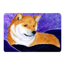 Caroline's Treasures - Shiba Inu Kitchen or Bath Mat 20 x 30 - Kitchen or Bath Comfort Floor Mat This mat is 20 inch by 30 inch. Comfort Mat / Carpet / Rug that is Made and Printed in the USA. A foam cushion is attached to the bottom of the mat for comfort when standing. The mat has been permanently dyed for moderate traffic. Durable and fade resistant. The back of the mat is rubber backed to keep the mat from slipping on a smooth floor. Use pressure and water from garden hose or power washer to clean the mat. Vacuuming only with the hard wood floor setting, as to not pull up the knap of the felt. Avoid soap or cleaner that produces suds when cleaning. It will be difficult to get the suds out of the mat.