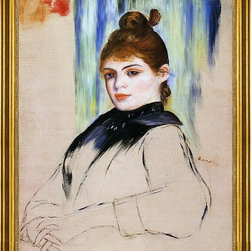 "Pierre Auguste Renoir-16""x20"" Framed Canvas - 16"" x 20"" Pierre Auguste Renoir Young Woman with a Bun in Her Hair framed premium canvas print reproduced to meet museum quality standards. Our museum quality canvas prints are produced using high-precision print technology for a more accurate reproduction printed on high quality canvas with fade-resistant, archival inks. Our progressive business model allows us to offer works of art to you at the best wholesale pricing, significantly less than art gallery prices, affordable to all. This artwork is hand stretched onto wooden stretcher bars, then mounted into our 3"" wide gold finish frame with black panel by one of our expert framers. Our framed canvas print comes with hardware, ready to hang on your wall.  We present a comprehensive collection of exceptional canvas art reproductions by Pierre Auguste Renoir."