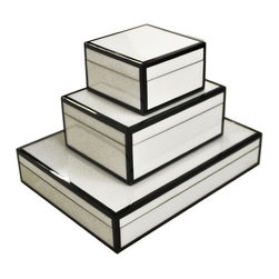 Lacquered Boxes, White & Black Trim - On top of a dresser or bedroom chest, a set of boxes is a must. Perfect for storing jewelry, makeup, pins or any other tiny odds and ends that seem to accumulate in a bedroom, these boxes would blend with any decor.