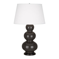 Robert Abbey - Robert Abbey Large Triple Gourd Table Lamp with Bronze Base CF41X - Coffee Glazed Ceramic