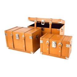"Traders and Company - Faux Crocodile Skin Flat-Top Cargo Trunks, Set of 3 - Lg = 22""Lx13.75""Wx14""H - European-inspired faux crocodile skin trunks, trays, boxes and carry-alls. Reminiscient of early 20th century railway fashion; bright and classic looking pieces warm and enliven a space while providing functional storage and stylish display. Alternate shapes & styles sold separately. Dimensions: Lg = 22.25""Lx13.75""Wx14""H, Md = 18.75""Lx11.5""Wx11.75""H, Sm = 15.25""Lx9.25""Wx9.5""H"