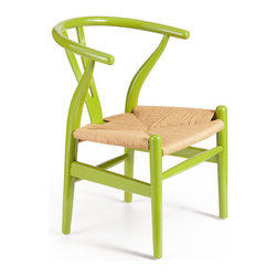 Baby Grant Chair, Lime Green - When you wish upon a star, dreams really do come true! The Baby Grant Chair is a pint size version of a classic wishbone chair. It's bent wood frame in solid elm offers a stylish and comfortable seat for children. Pair several with one of our modern kid tables for a practical seating arrangement for homework or playtime. The Baby Grant Chair comes in lime green or red, with a durable natural wicker seat. Sold as a set of two (package cannot be broken); price shown is for one.