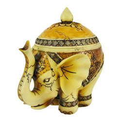 Beautiful Antiqued Indian Elephant Design Trinket Box - Made of cold cast resin, this stunning Indian elephant trinket box adds a touch of style to your dresser or bookshelf. Measuring 6 inches tall, 5 1/2 inches deep, and 4 inches wide, it has a wonderful bone-like finish, and is hand-painted with brown and black enamels. This trinket box also makes a great present for the holidays or for housewarming gifts. It looks great on bookshelves and on top of desks or tables.