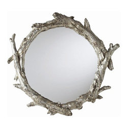 Arteriors Home - Arteriors Home Oakley Mirror - Arteriors Home 9655 - Arteriors Home 9655 - Round wall mirror with bent tree-branch inspired painted silver leaf resin frame.